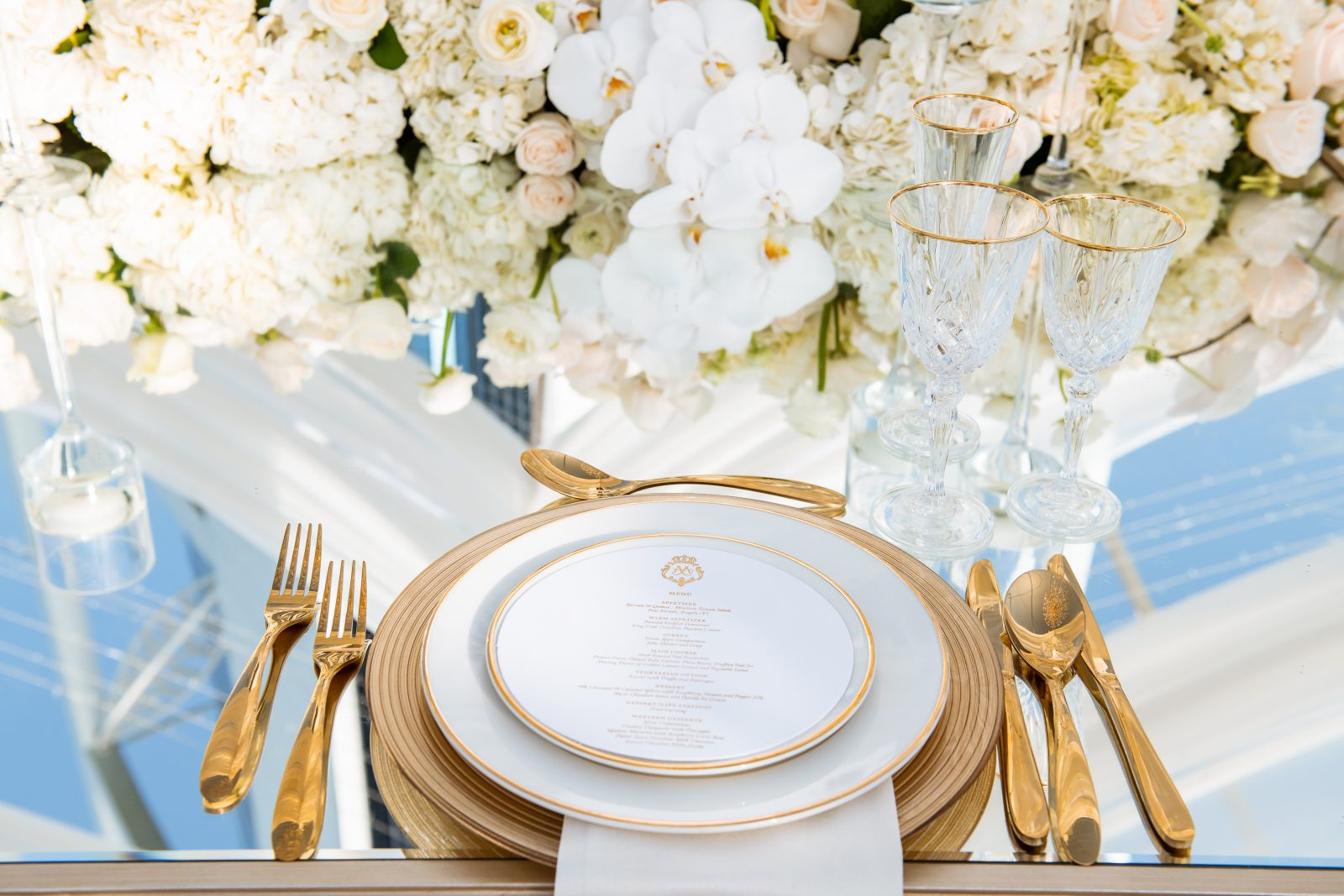 Event Chic Designs gold wedding place setting