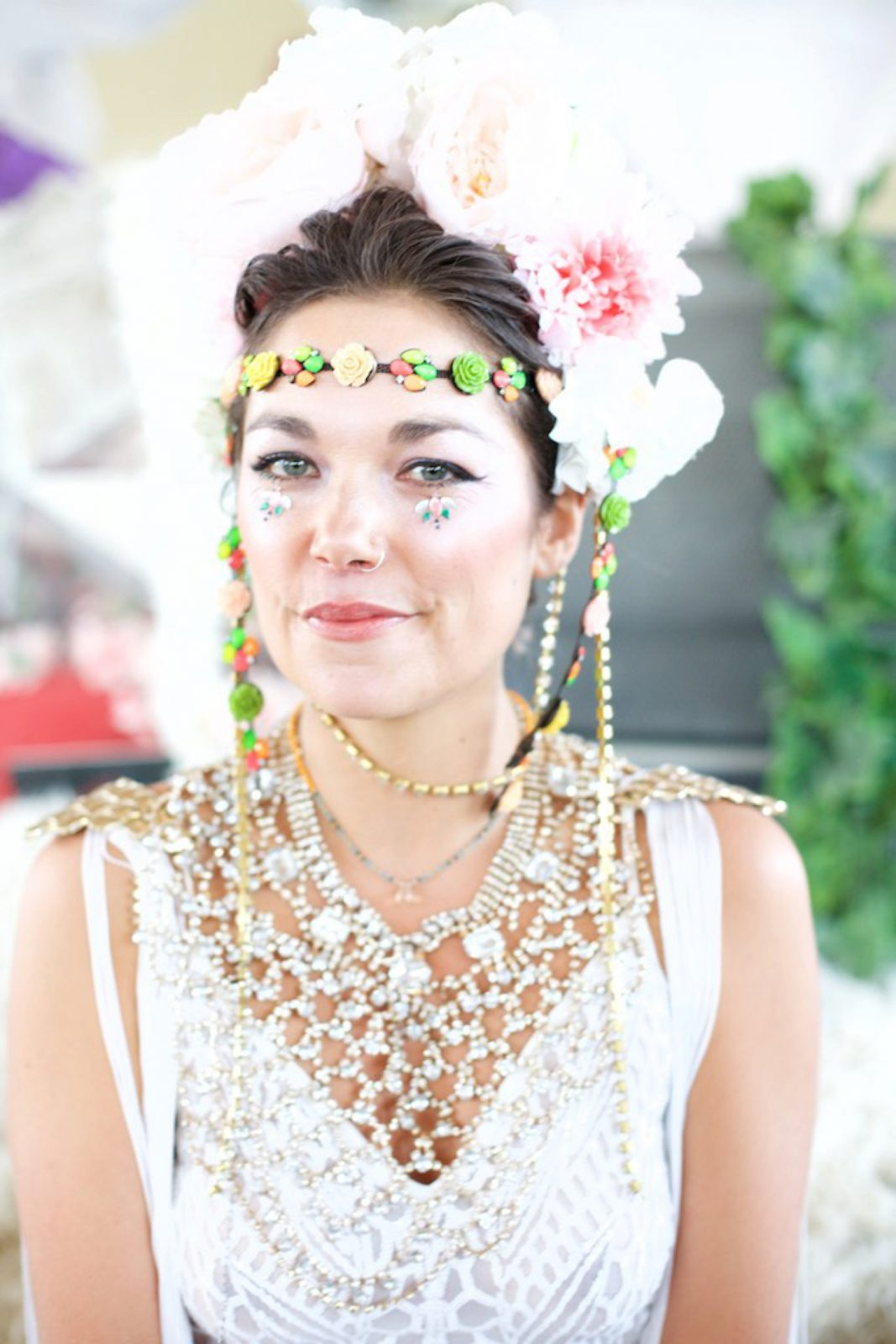 Bride wearing festival themed bridal outfit