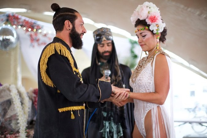 Bride and Groom exchanging vows at Burning Man