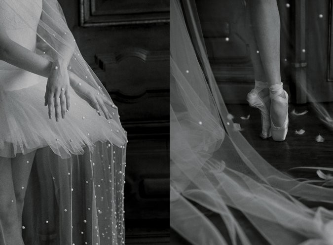 Swan Lake inspired bride black and white photos
