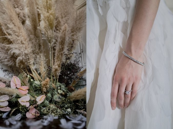 Swan Lake inspired bride jewellery and floral details