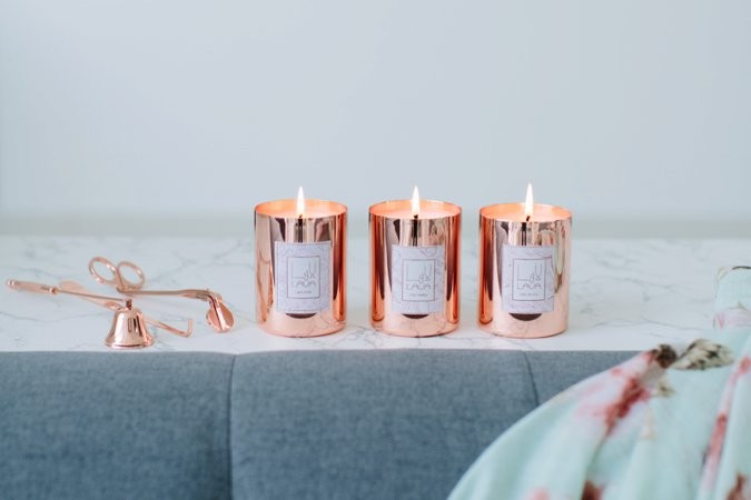 Rose gold Lava Candles collection