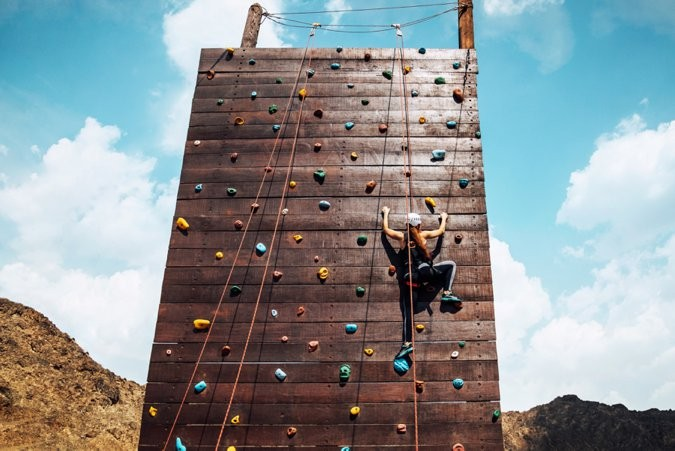 Climbing wall at JA Hatta Fort Hotel