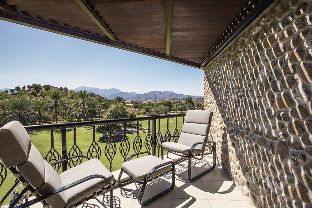Mountain view chalet balcony at JA Hatta Fort Hotel