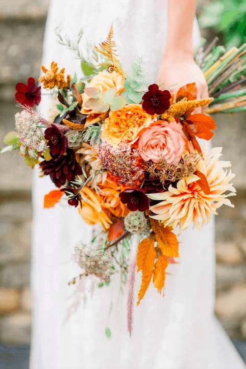 Autumnal wedding bouquet with burnt orange tones