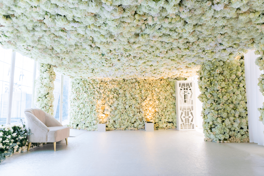 Event Chic Designs floor to ceiling flower room at wedding