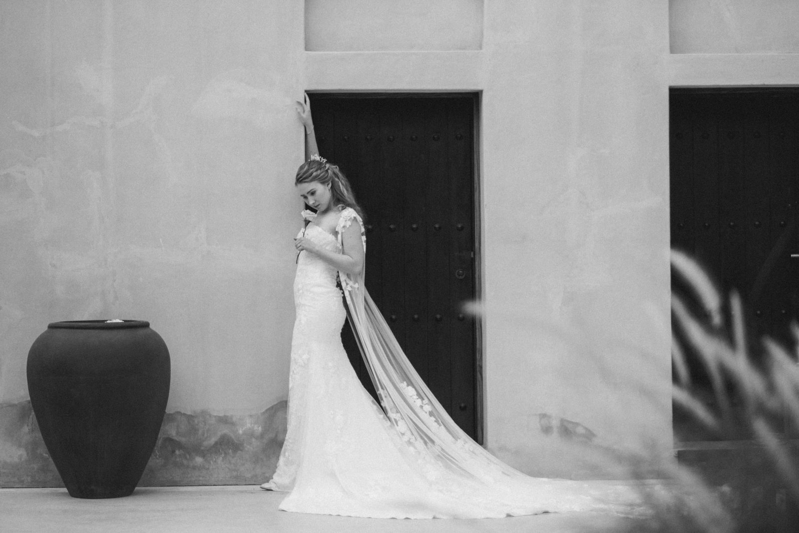 Black and white candid shot of Bride