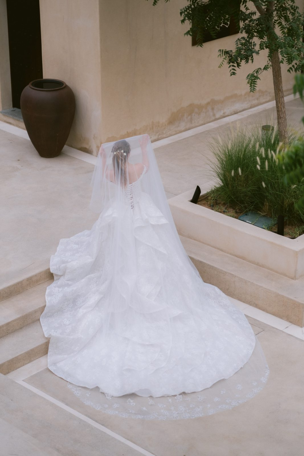 Bride from the back with statement veil