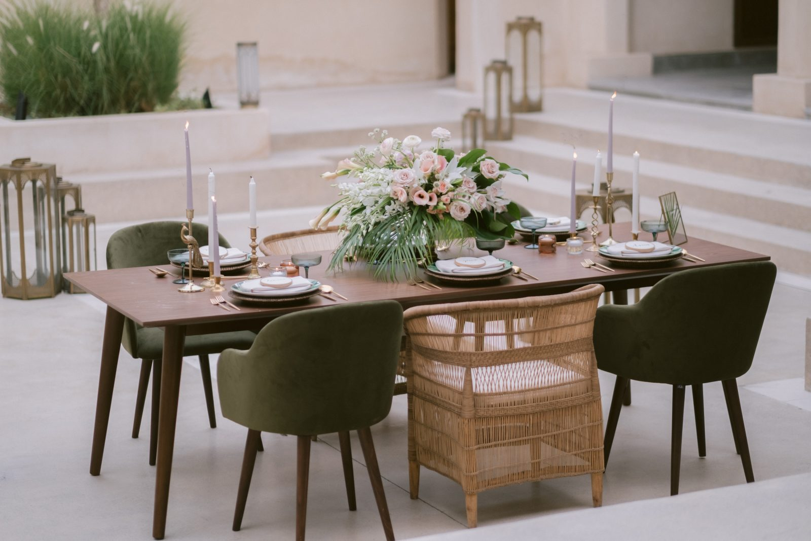 Olive, light pink and green leaf wedding table set up inspiration