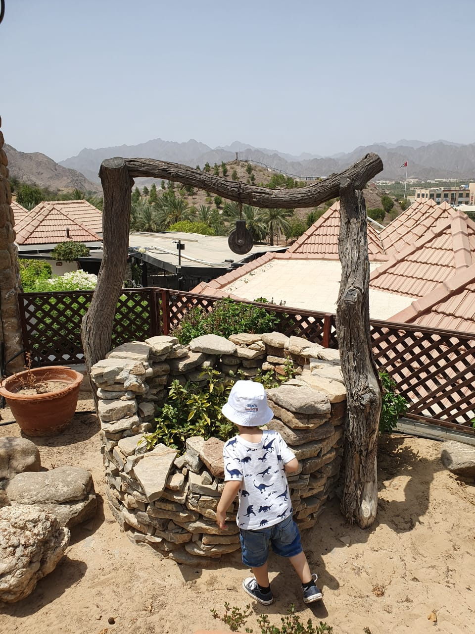Kai exploring at JA Hatta Fort Hotel