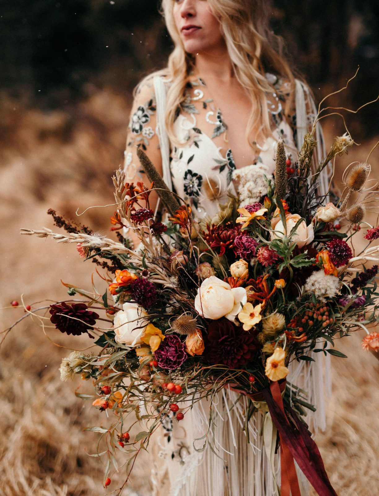 Wild flower Autumnal wedding bouquet