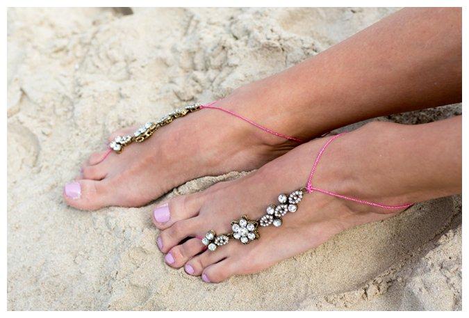 Quite Quaint Brides jewel bridal beach sandals