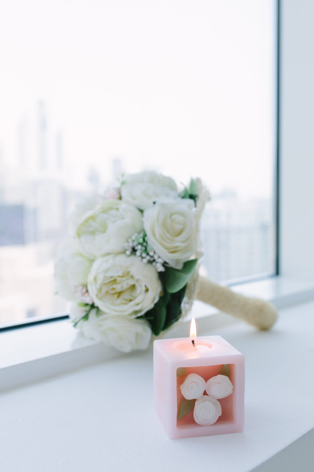 Lava Candle with wedding bouquet