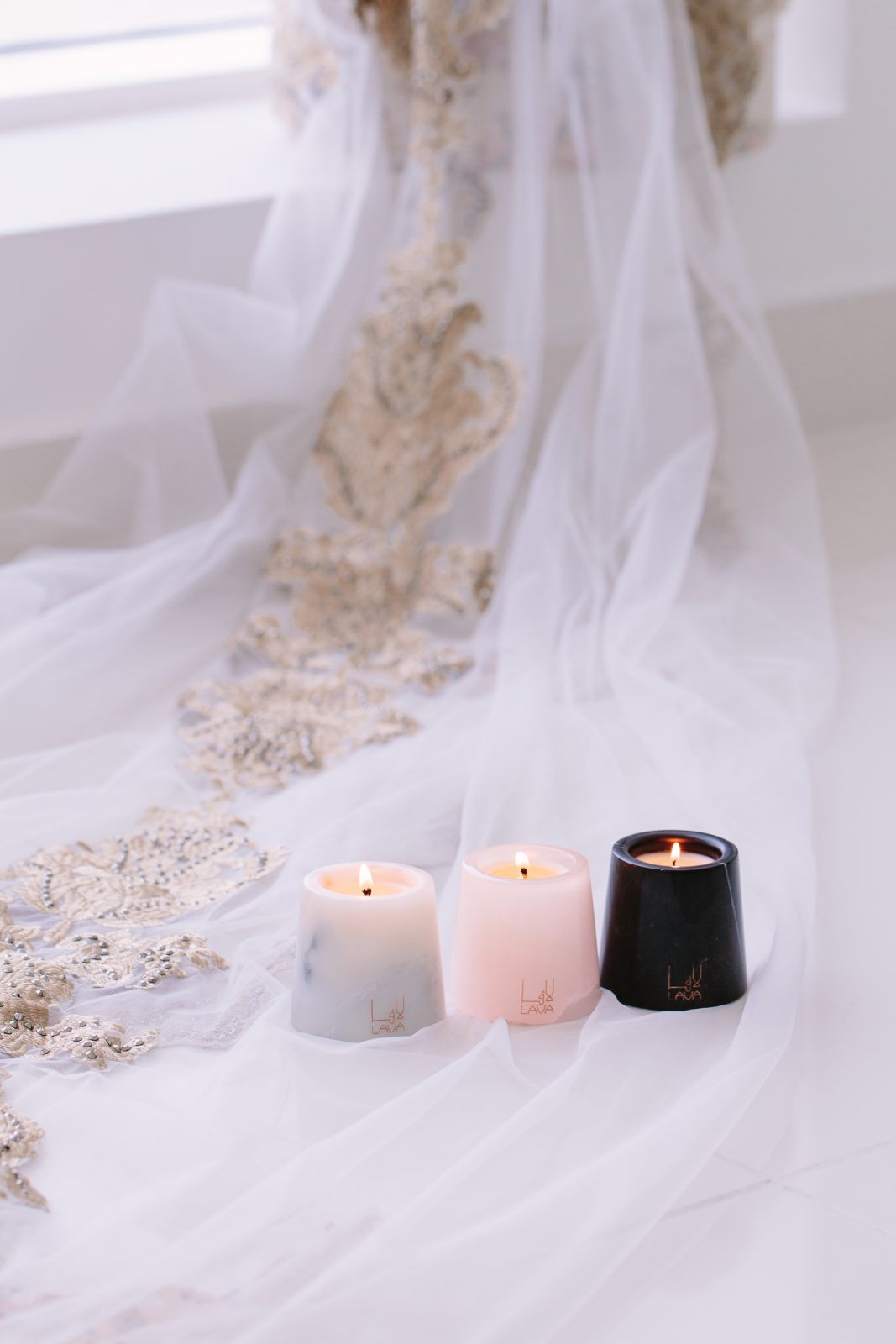 Lava Candles at the bottom of a wedding dress
