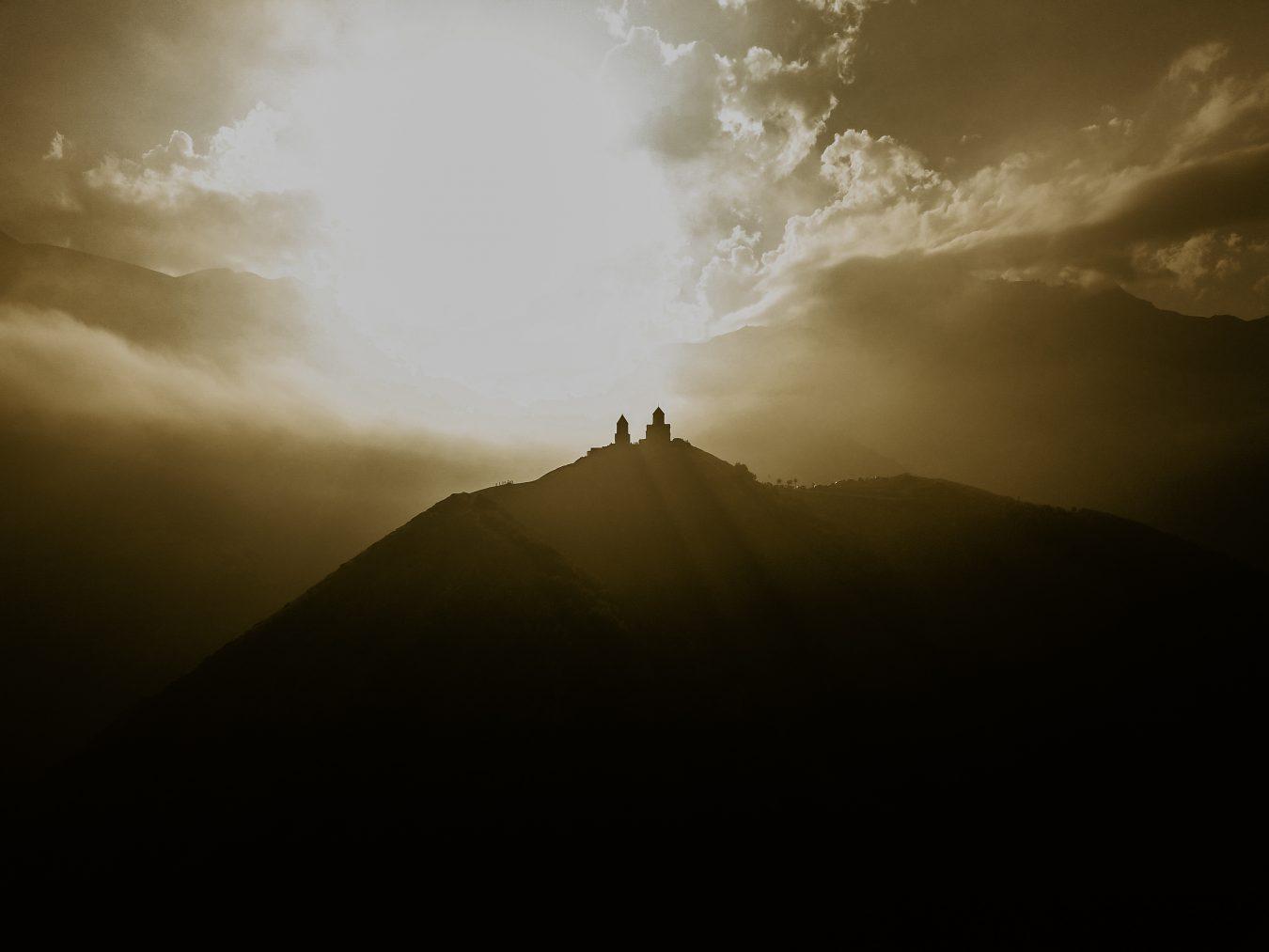 Gergeti Church at sunset