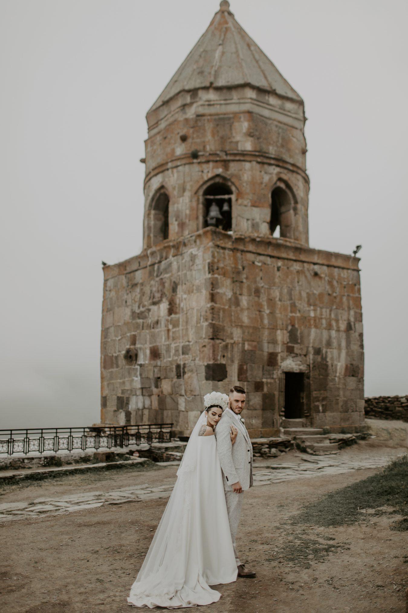 Real Bride Khatia at Gergeti Church in Georgia