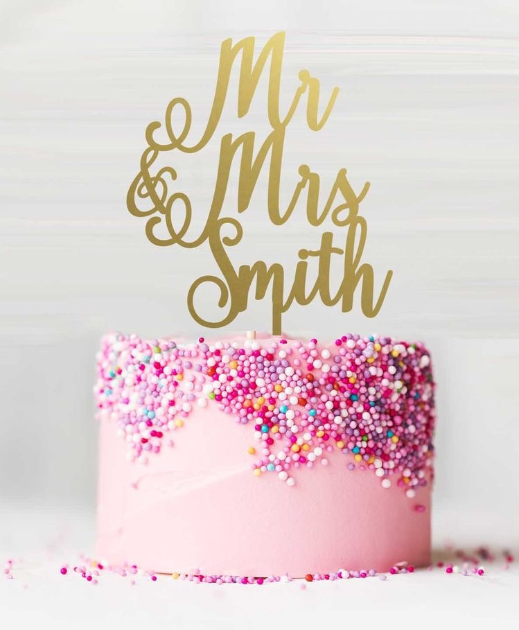 Mr & Mrs Smith wedding cake topper