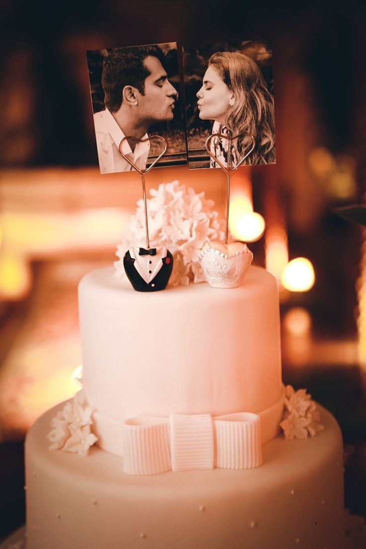Bride & Groom polaroid wedding cake topper