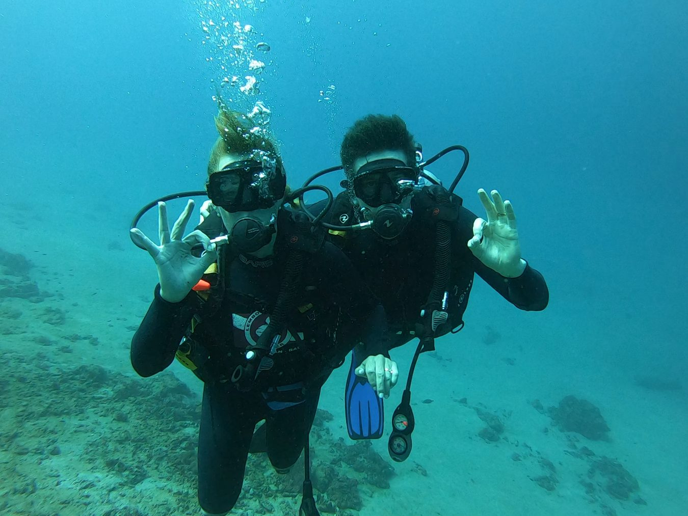Maja and her husband scuba diving