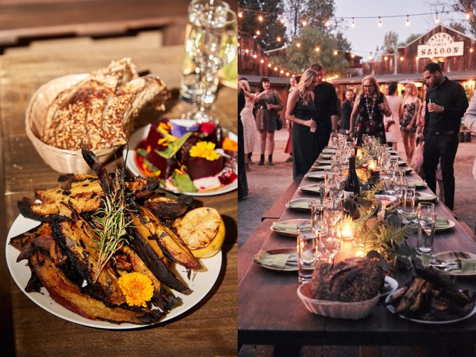 Rustic wedding food and table setting