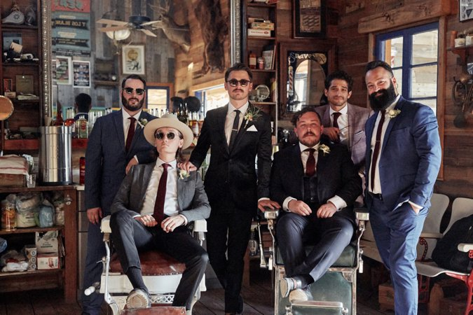 Groomsmen posing all together