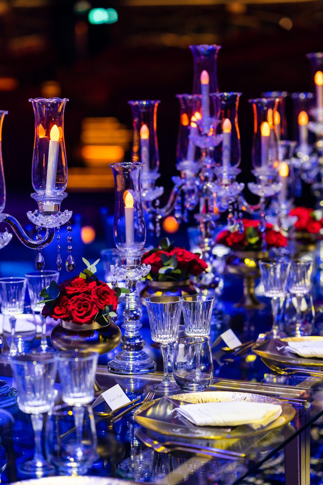 Dubai Opera red rose wedding table arrangement
