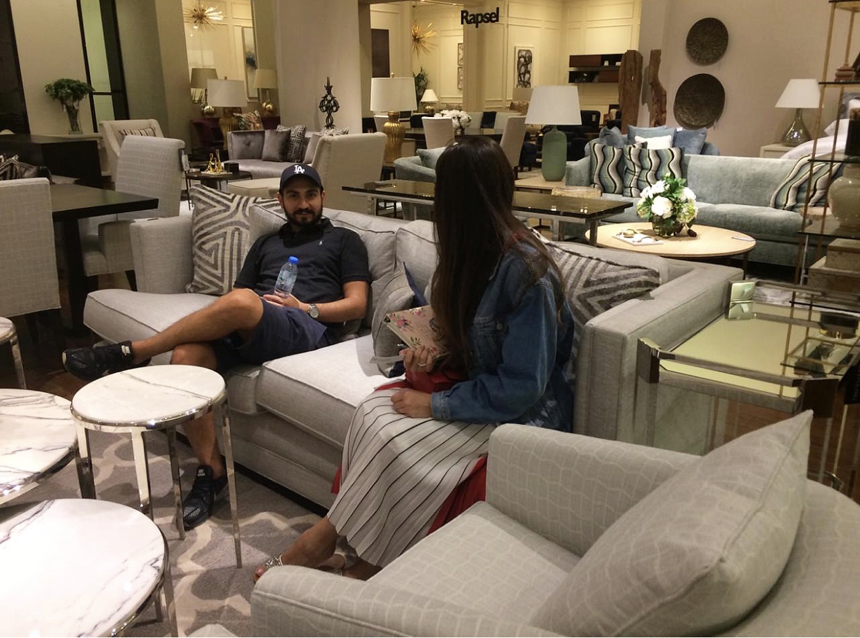 Couple furniture shopping