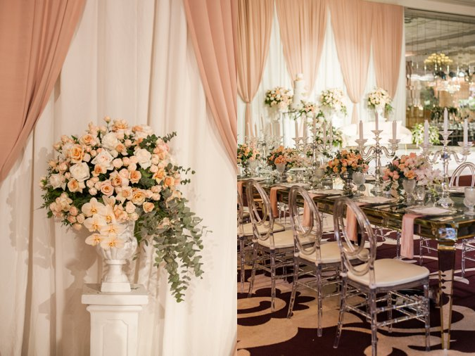 Peach and green wedding decor