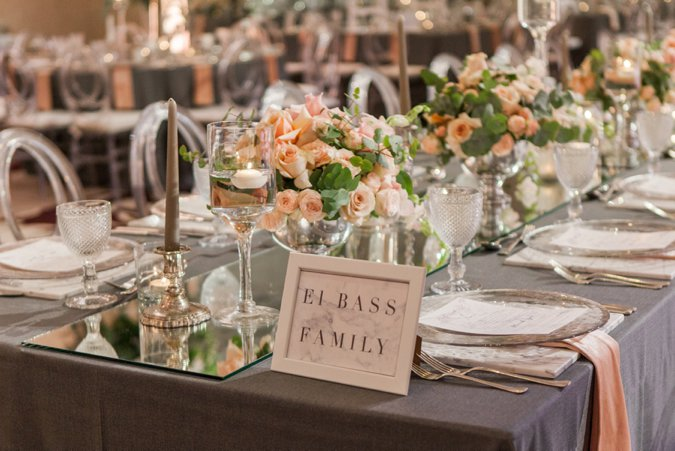 Peach and green wedding table decor