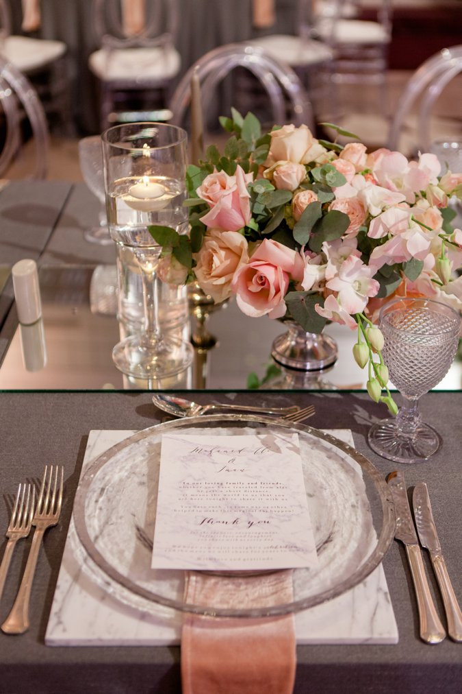 Wedding table setting with 'Thank You' note