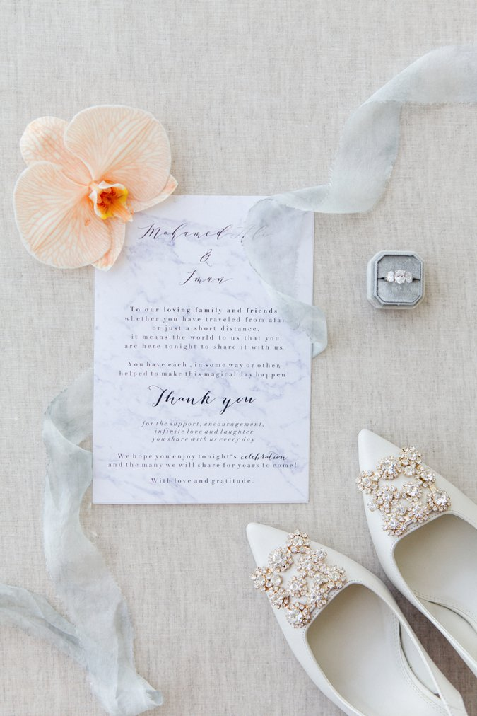 Bridal details including shoes and ring