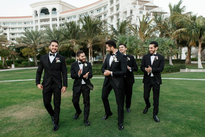 Groom and Groomsmen in black tie