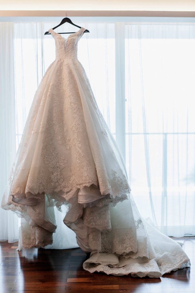 Wedding gown hanging up