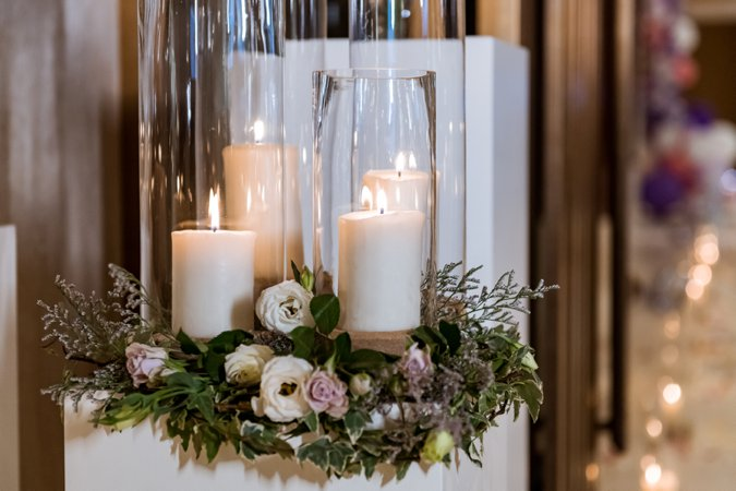 Candle display with flowers