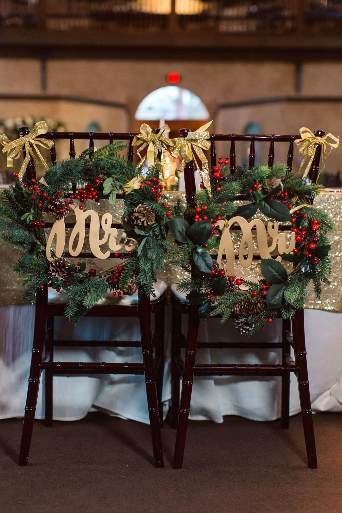 Mr & Mrs Wedding seats with Christmas wreaths