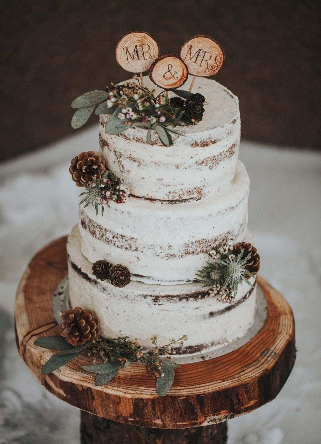 Mr & Mrs rustic Christmas cake