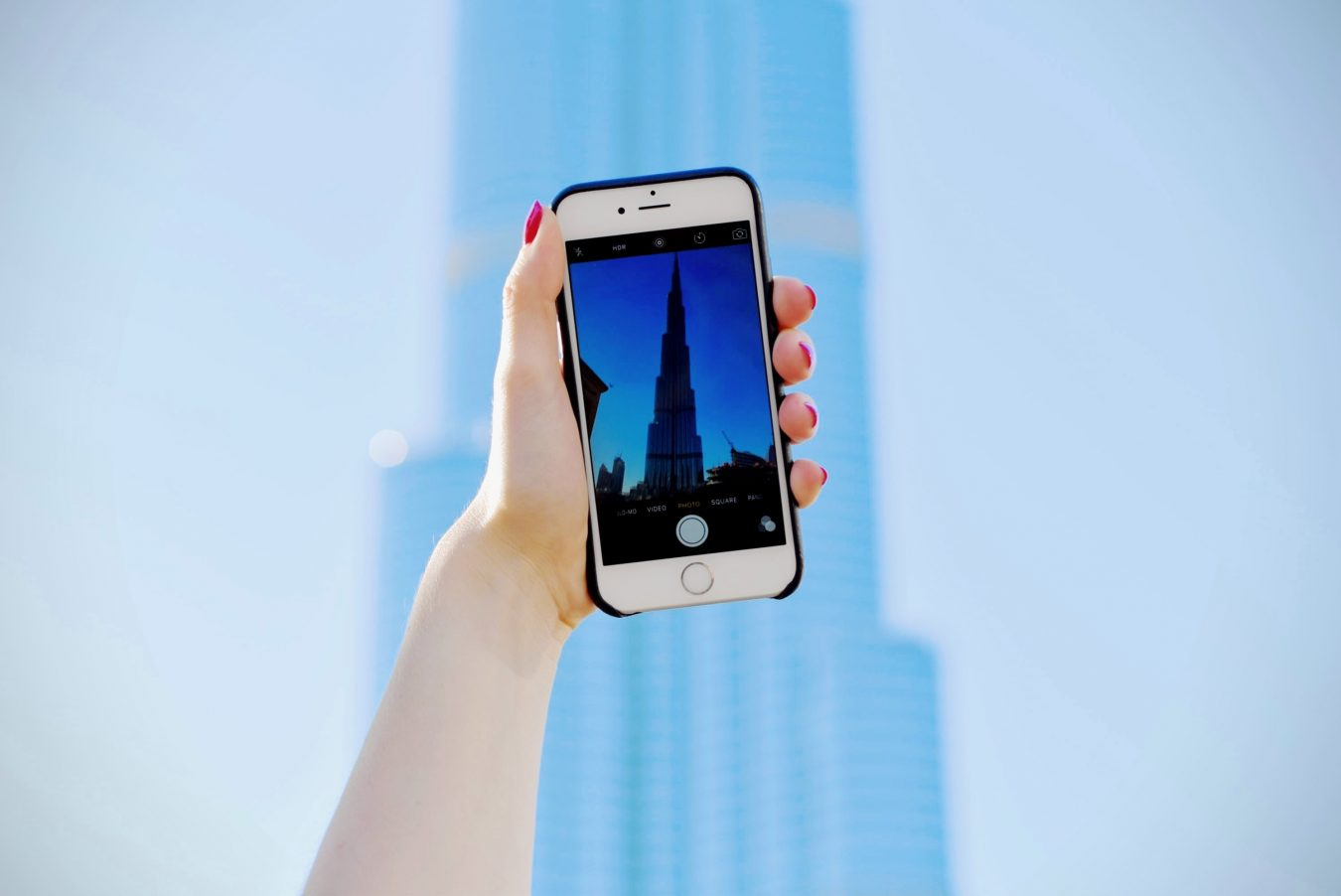 Burj Khalifa through a phone screen