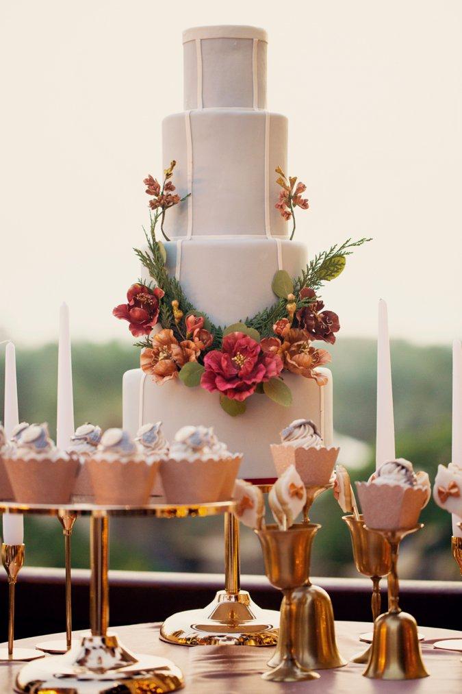 Festive style wedding cake
