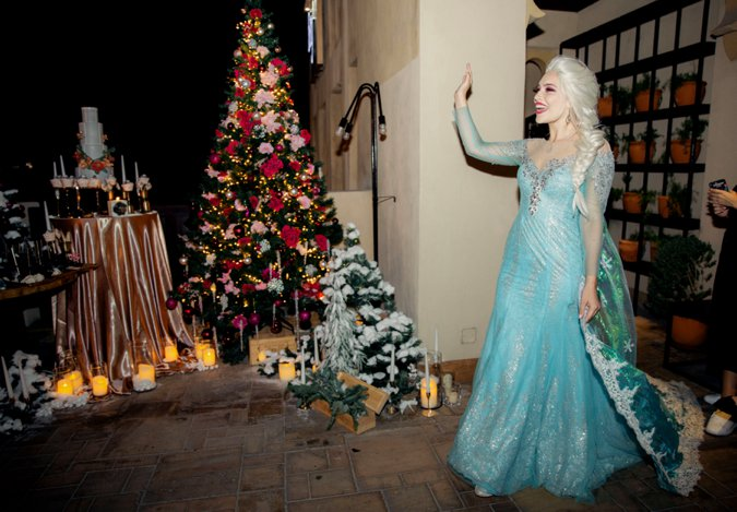 Lady dressed as Elsa at Christmas party