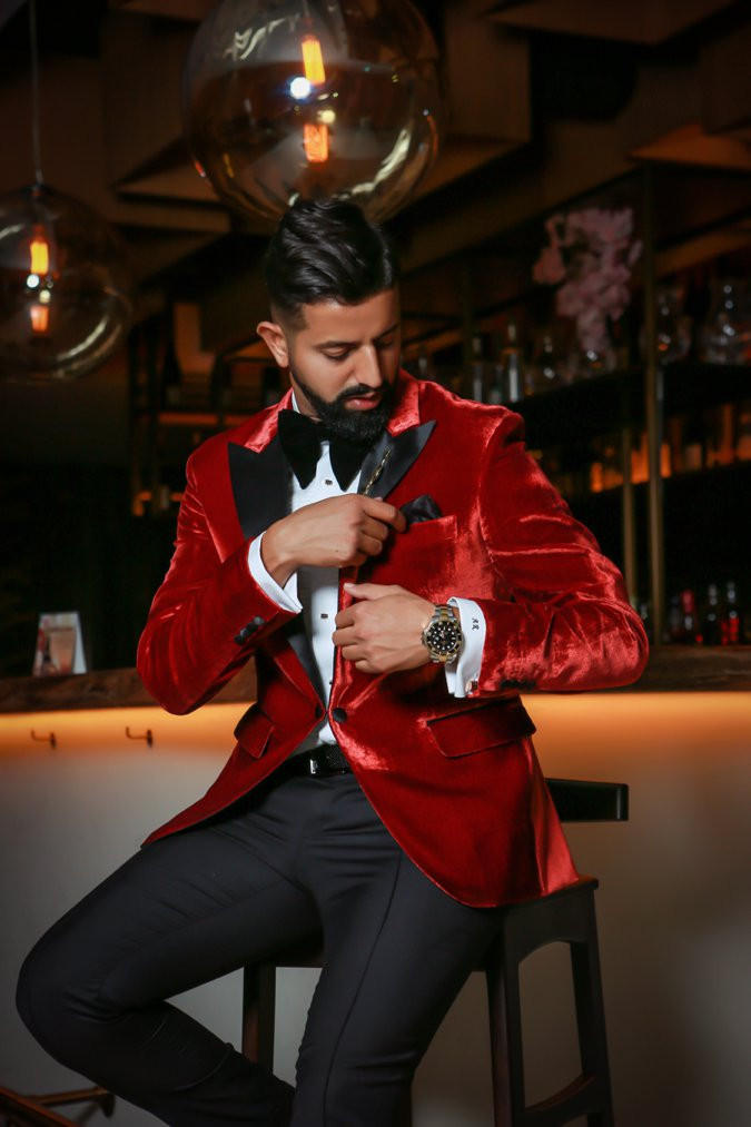 Man in red velvet suit