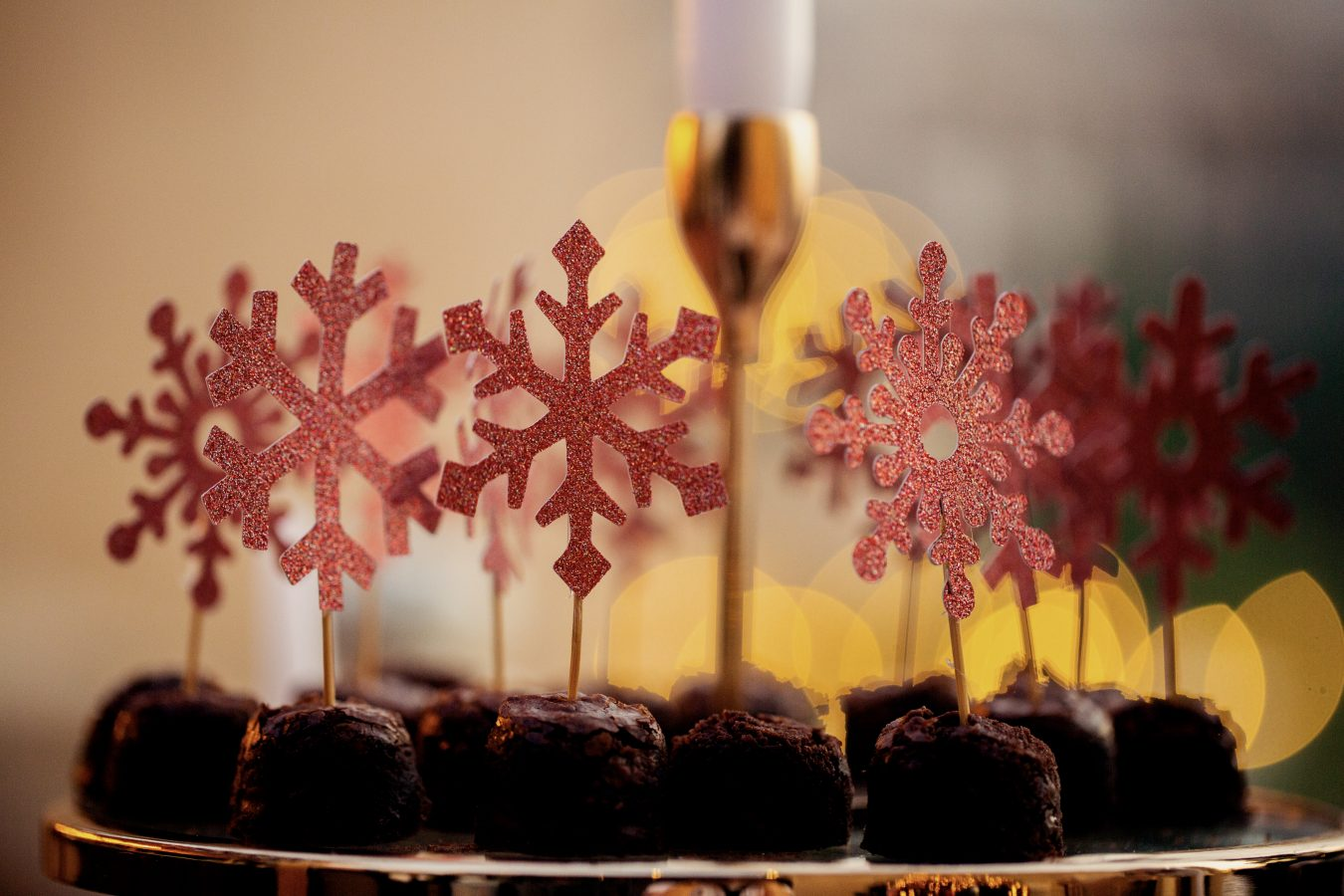 Festive treats with glittery snowflake decorations