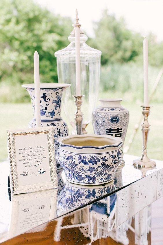 Blue ornate vases wedding decor