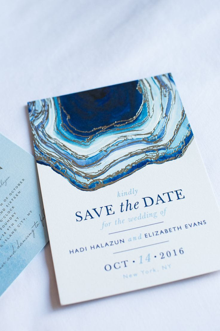 Blue save the date wedding invitations