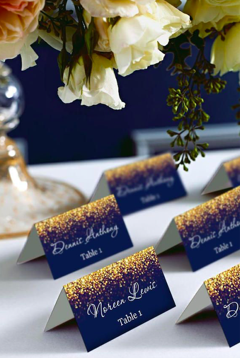 Blue and gold wedding name cards