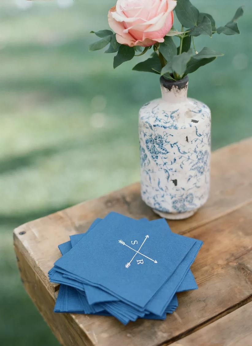 Personalised blue wedding napkins