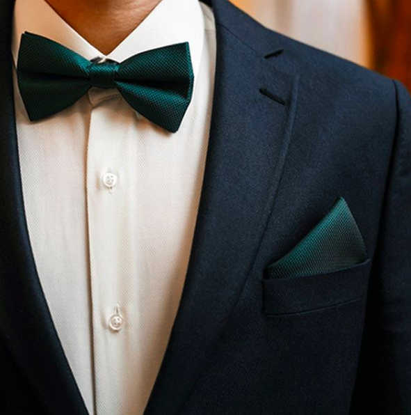 Green bow tie and matching pocket square