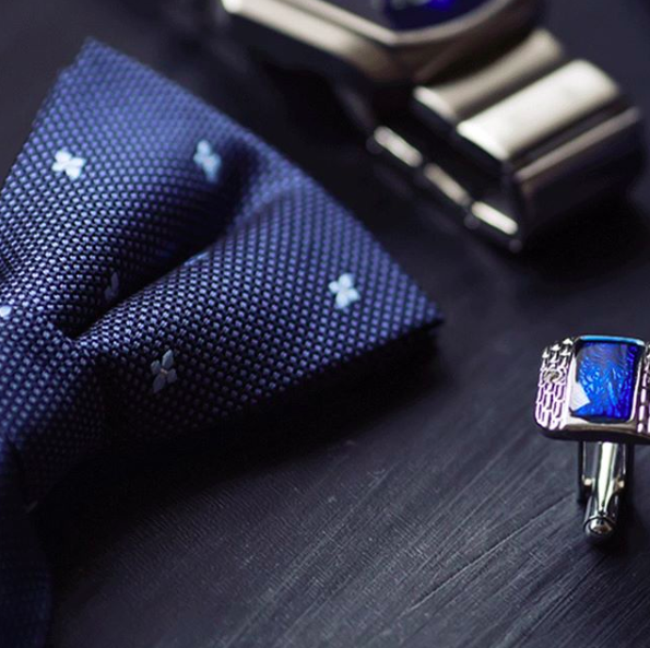 Blue bow tie and cufflinks