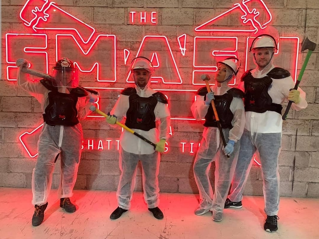 BCME team posing at The Smash Room Dubai