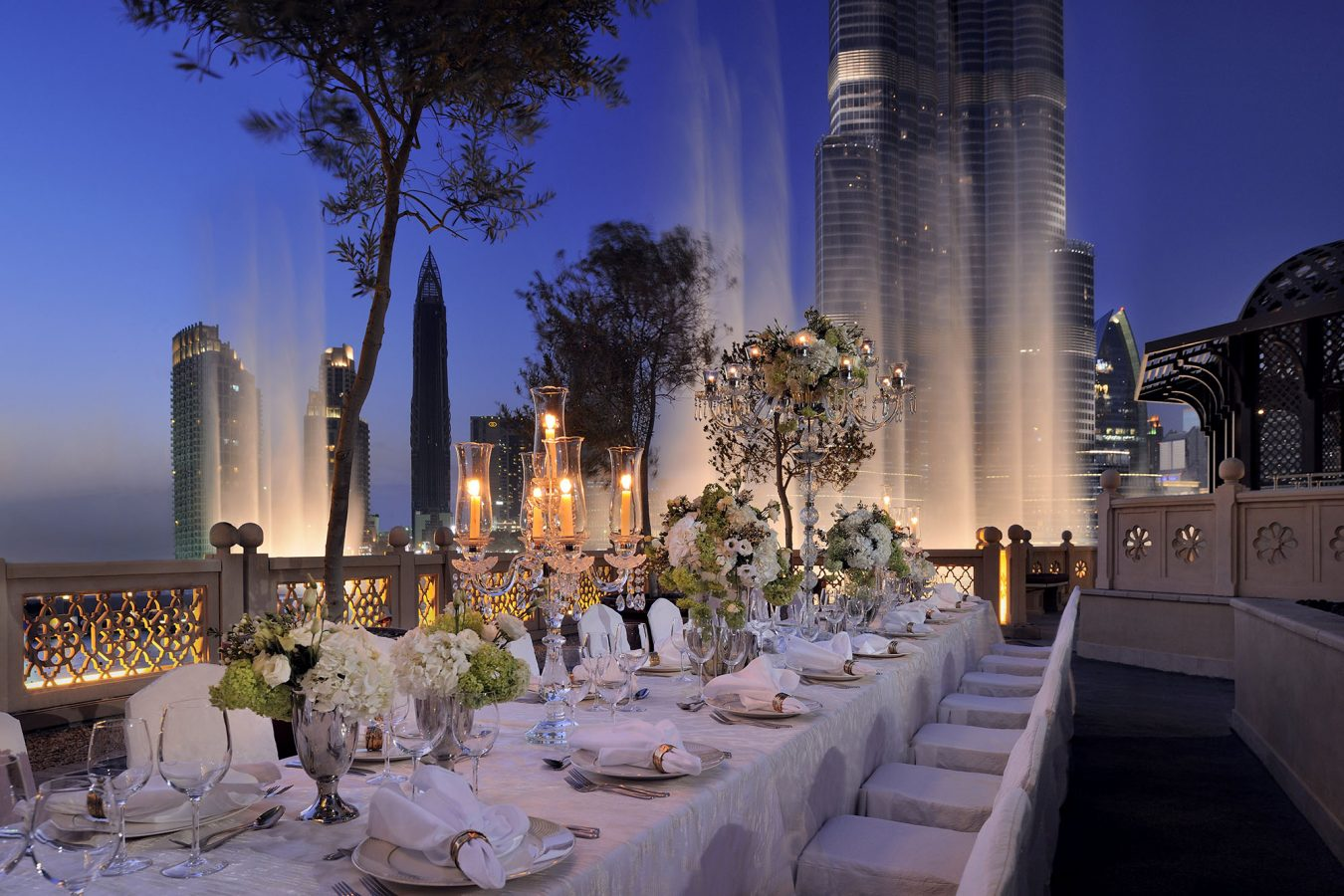 Wedding reception in front of Dubai Fountains