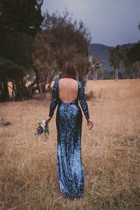 Blue sequin, backless wedding gown